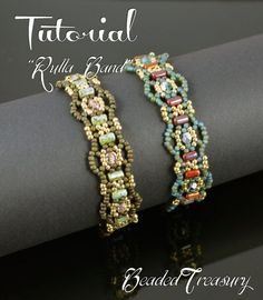 Rulla Band - beading tutorial, rulla bead pattern, beaded braclet pattern, beadweaving, seed beads, fire-polished beads / TUTORIAL ONLY by DeeDeeBean