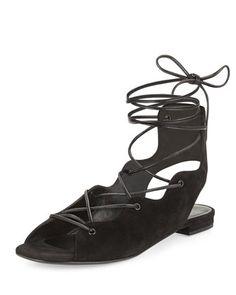 Suede+Lace-Up+Flat+Sandal,+Black+by+Saint+Laurent+at+Neiman+Marcus.