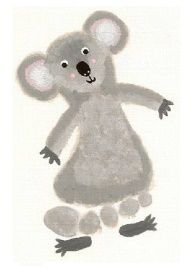 footprint craft, k is for koala-for Tenley (forgiveness- walk in your neighbors shoes Daycare Crafts, Crafts For Boys, Baby Crafts, Art For Kids, Arts And Crafts, Daycare Rooms, Toddler Art, Toddler Crafts, Infant Crafts