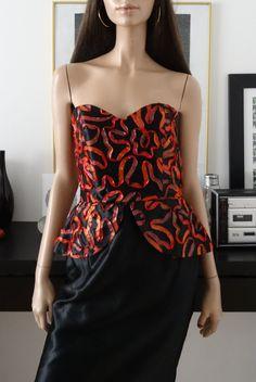 Robe vintage VERA MONT bustier gros noeud/rubans 42/Vtg long strapeless dress 14 de la boutique POUPOUPIDOUX sur Etsy