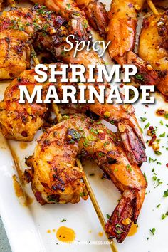 This easy shrimp marinade is marinates the shrimp super fast and your can grill them up in just minutes. It's sweet and spicy and loaded with delicious flavors. #shrimprecipes #marinating #summerfood Shrimp Kabob Recipes, Shrimp Recipes For Dinner, Seafood Dinner, Fish Recipes, Seafood Recipes, Appetizer Recipes, Appetizers, Grilled Shrimp Marinade, Shrimp Marinade For Grilling