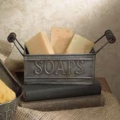 New Primitive Country Colonial Bath SOAPS BUCKET HOLDER Tin Caddy Basket #Country