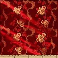 Chinese Brocade Ribbons Red