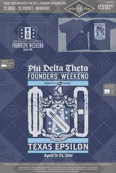 Texas Tech University Phi Delt Founder's Weekend 2016 #BUnlimited #BUonYOU #CustomGreekApparel #GreektShirts #Fraternity #Sorority #GreekLife #TShirts #Tanks #PhiDeltaTheta #PhiDelt #PDT #Crest #Founder'sDay #Founder'sWeekend #Flag #Rush #Recruitment #PR #BidDay