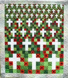 Flanders Field quilt, designed and pieced by Susan Cobb and quilted by Betty Ann Guadalupe (Sisters, Oregon). Donated to the VFW. Quilting Projects, Quilting Designs, Canadian Quilts, Quilts Canada, Remembrance Poppy, Quilt Of Valor, Patriotic Quilts, Flower Quilts, Scrappy Quilts