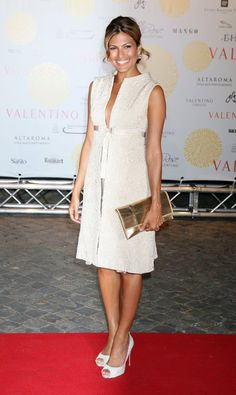 Eva Mendes wearing Valentino Sleeveless Nude Cocktail Dress and Christian Louboutin Hyper Prive White Peep Toe Pumps.