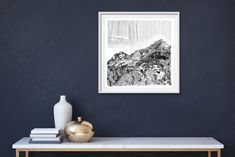 Available for sale, Table Mountain by Cape Town artist Kitty Dörje, ink on paper size 54 x 54 cm unframed. Secure online purchase and delivery to door. Mountain Drawing, Table Mountain, Glass Table, Online Art Gallery, Fine Art Paper, Gallery Wall, Kitty, Ink, Drawings