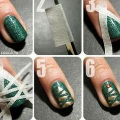 Cute DIY nail design with masking tape