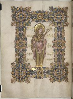Full-page miniature of St Ætheldreda [Æthelthryth], holding a book and a flower, at the beginning of her benediction, Add MS 49598, f. 90v