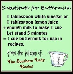 Conversion Charts & Kitchen Tips - buttermilk substitute Hacks Cocina, Buttermilk Substitute, Homemade Buttermilk, Recipe For Buttermilk, Heavy Cream Substitute, How To Make Buttermilk, Butter Substitute, Homemade Breads, Sweets