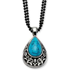 Women's Stainless Steel Turquoise Teardrop Pendant Necklace Jewelry Available Exclusively at Gemologica.com