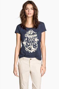 Блуза от трико с принт | H&M