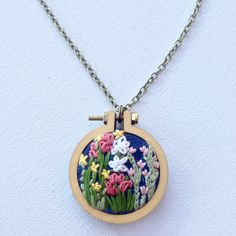 Flower Necklace, Hoop Art, Embroidered Necklace, Hand Embroidered Jewelry, Mini Hand Embroidery Hoop, Wooden Pendant, Sister Gift