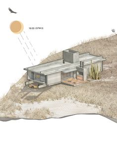 Casa en Cuyo, Argentina on Behance Container Architecture, Architecture Board, Architecture Graphics, Architecture Visualization, Architecture Design, Cabin House Plans, House Layout Plans, House Layouts, Container House Design