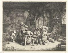 Adriaen van Ostade | Boeren aan een maaltijd in een herberg, Adriaen van Ostade, 1647 - 1652 | In een rommelig vertrek in een herberg gebruiken vier mannen en een vrouw een maaltijd. De drank vloeit rijkelijk en de mannen roken pijp. Een jongen helpt een klein kind met drinken uit een kruik. Op de grond liggen speelkaarten, een gebroken pijp en een lege kan.