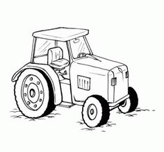 Tractor drawing for coloring field.  Children's drawings ...
