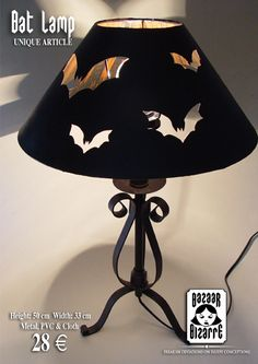I would add colored cellophane or similar behind the cutouts so you don't accidentally look directly at the bulb. It burns us, my precious!  Simple idea to bring bats into the decor. Use an LED bulb so the cellophane doesn't get hot.