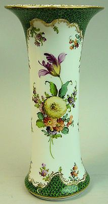 ANTIQUE DRESDEN HAND PAINTED FLORAL PORCELAIN VASE C.1890