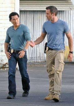 Daniel Dae Kim played Jin Kwon in LOST, then stars with Alex O'Loughlin (here, Steve McGarrett) in the Hawaii Five-0 remake as Chin Ho Kelly