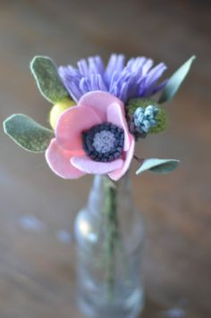 Mum and Anemone with Eucalyptus Felt Flower Bouquet / READY TO SHIP Handmade…