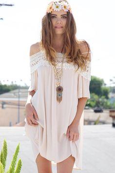Summer Love Bohemian Lace Off Shoulder Dress - Cream