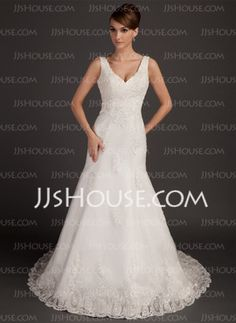 A-Line/Princess V-neck Court Train Satin Tulle Wedding Dress With Lace Beadwork (002015557) - JJsHouse