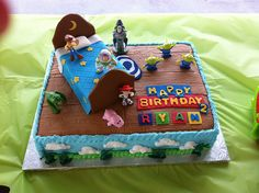 Throw a fantastic Toy Story Themed Birthday Party! Find everything you will need for a Toy Story party. Toy Story Birthday Cake, 2 Birthday, Cool Birthday Cakes, Birthday Ideas, Birthday Parties, Cumple Toy Story, Festa Toy Story, Toy Story Party, Bolos Toy Story