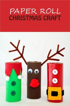 Paper roll Christmas craft for kids: Santa, elf and reindeer. at Non Toy Gifts Christmas Arts And Crafts, Handmade Christmas Gifts, Personalized Christmas Gifts, Christmas Activities, Kids Christmas, Holiday Crafts, Christmas Decorations, Kids Crafts, Non Toy Gifts