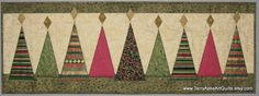 Quilted Table Runner with Modern Christmas Trees