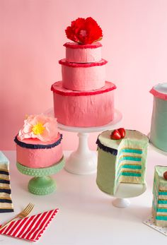 Paper Mache cakes look amazing and make perfect party decor for birthday parties or anytime. Add trays of fruits and vegetables that are edible, ha ha.