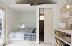 """Together with the Swedish house producer Sommarnöjen, sandellsandberg designed the first """"Attefall-house"""" - a 25 sqm house contains all facilities you Space Interiors, Cabin Interiors, Backyard Guest Houses, Compact Living, Green Rooms, Cabin Design, Tiny Spaces, Tiny House Living, Small Space Living"""