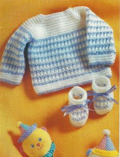 Knitting recipe: cardigan and slipper in trico- months Baby Knitting Patterns, Baby Sweater Knitting Pattern, Baby Patterns, Crochet Bebe, Crochet For Boys, Knitting For Kids, Free Knitting, Layette Pattern, Tricot Baby