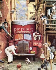'Roadblock' by Norman Rockwell is a comical look at a small village as a delivery van tries to complete its rounds. Squeezing down a small alleyway, the van attracts a lot of attention from the town's people, but everyone seems to be more concerned about the little dog sitting comfortably in the middle of the road than the poor van driver.