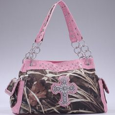 Realtree® Camo Rhinestone Cross Handbag with Chain Straps – Handbag Addict.com