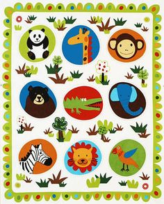 Robert Kaufman Fabric, Wild Friends, Project Panel in EARTH Colorway  - Quilting Project Panel