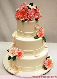 3-Tier Wedding Cake by Pink Cake Box