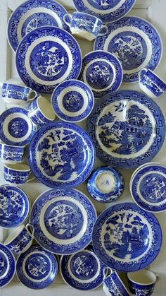 Thrifted blue and white dishes:  so Into Vintage blog