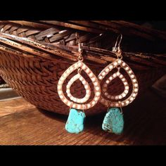 """Statement earrings: Gold, white with turquoise Double tear drop with turquoise nugget mini slab as a colorful focal point. Drop approx 2"""" Jewelry Earrings"""
