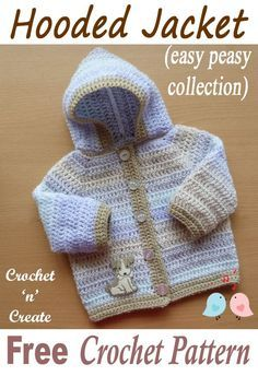 Easy Peasy Hooded Jacket Free Baby Crochet Pattern Sweet crochet baby hooded jacket from easy peasy collection, a free crochet … Crochet Baby Sweater Pattern, Crochet Baby Jacket, Crochet Baby Sweaters, Baby Sweater Patterns, Baby Clothes Patterns, Baby Patterns, Baby Knitting, Crochet Toddler Sweater, Crochet Baby Clothes Boy