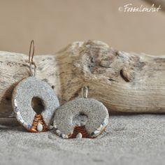 Earrings. Hemp twine, sand, seashells' chips.