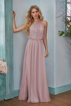 B203006 Long Halter Neckline Lace   Poly Chiffon Bridesmaid Dress Beautiful Bridesmaid  Dresses 7298b678cd6e