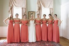 Strapless Coral Bridesmaids Dresses | photography by http://www.paigewinnphoto.com