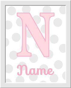 Girl Nursery Wall Art Pink Gray Grey by DezignerheartDesigns