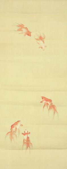 中村左洲 『錦魚』【動物・魚・鳥・虫の浮世絵・掛軸・骨董品のページ】浮世絵・掛軸・書画・骨董・古美術品の販売・鑑定・買取