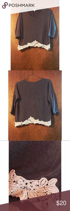 Charming Charlie Grey Crochet Top Charming Charlie Charcoal Grey Crochet Trim Top - 3/4 sleeves, size medium and when held up to the light the color does not look as solid, likely based on the fabrication. All details shown in pictures above. No flaws on the outside! Feel free to ask any questions you may have. Offers welcome✨ Charming Charlie Tops Blouses