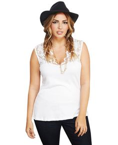 <p>A little scalloped lace goes a long way when flaunting that femme fatale look! This tank features flirty lace trimmed along the V-neckline, a stretchy knit body, and comfortable wide straps. Wear it with a pencil skirt or over jeans for the perfect date night outfit. Unlined.</p>  <p>Model wears a size 1X.</p>  <ul> <li>Self: 95% Cotton / 5% Spandex</li> <li>Contrast: 92% Nylon / 8% Spandex</li> <li>Hand Wash</li> <li>Imported</li> </ul>