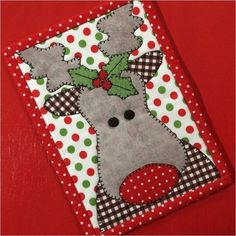 Mug Rug More Rudolph with your nose so bright, won't you light my way to Christmas Cheer! This is a great mug rug for your home, office, a gift for a quilty friend or send it as a postcard during the Christmas season! Finished Mug Rug measures 5 Christmas Mug Rugs, Christmas Applique, Christmas Crafts, Xmas, Christmas Placemats, Christmas Items, Christmas Presents, Quilted Christmas Gifts, Christmas Tables