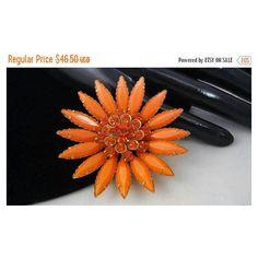 Now On Sale Orange Rhinestone Flower Brooch, Vintage Fashion Jewelry... ($28) ❤ liked on Polyvore featuring jewelry, brooches, flower jewelry, pin brooch, vintage flower brooch, vintage jewellery and rhinestone broach