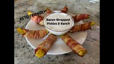 Bacon wrapped pickles with KETO friendly ranch dressing for dipping! This is SO easy to make and extremely yummy! Bacon Wrapped Pickles, Bacon Videos, Ranch Dressing, Sausage, Keto, Chicken, Easy, Recipes