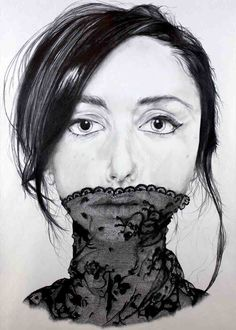 a Pencil Sketch depicting a Woman, covered in Lace from the mouth down. Reference- http://o---girlinred---o.deviantart.com/art/Blacklace-16-69517262 see more @ the mind is right http://themindisright.com/Project/Lace